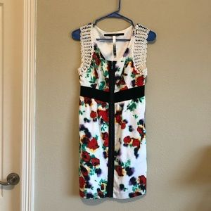 Kensie White Floral Front-Zip Dress